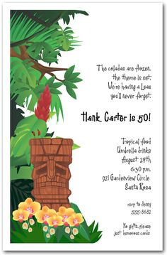 Tiki God Luau Invitation Mask Invitations Birthday Party Cottage