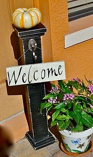 Front porch welcome sign.
