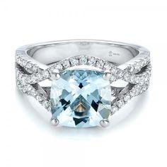 Mmm shiny. Custom Aquamarine and Diamond Engagement Ring | Joseph Jewelry Seattle Bellevue https://www.josephjewelry.com/custom-engagement-rings/100895.php