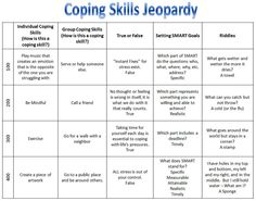 Skills Jeopardy game from rectherapyideas. Good reference for psychiatric. Coping Skills Jeopardy game from rectherapyideas. Good reference for psychiatric.,Coping Skills Jeopardy game from rectherapyideas. Good reference for psychiatric. Group Therapy Activities, Therapy Worksheets, Therapy Games, Counseling Activities, Therapy Tools, School Counseling, Therapy Ideas, Group Counseling, Coping Skills Activities