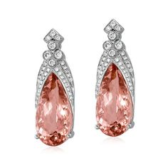 Yael Designs Paladin Sunrise Morganite rose gold earrings featuring carat morganites, accented with carats of ideal cut diamonds. Diamond Tops, Ideal Cut Diamond, Rose Gold Earrings, Unique Earrings, Diamond Earrings, Modern Jewelry, Fine Jewelry, Unique Jewelry, New Jewellery Design