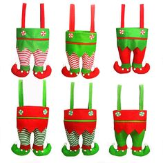 84ea92d2cc7eb Honeystore Christmas Elf Boots Candy Cookie Gift Bag Sack Stocking Filler  Xmas Party Decoration Sack-Pack of 6