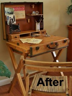 extreme upcycle the suitcase desk, painted furniture, repurposing upcycling, Pull the suitcase handle and you discover the drawer The sorter and upper shelf flip up into the lid so the case can be closed Repurposed Furniture, Painted Furniture, Diy Furniture, Vintage Furniture, Furniture Design, Plywood Furniture, Industrial Furniture, Chair Design, Design Design