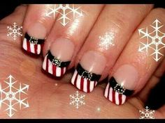this design is a french version of santa nails. It's simple to do and doesn't require any specific equipment, just a festive mood ^.^ If you don't want the stripes you can add some red glitter on the red area Christmas Nail Art Designs, Holiday Nail Art, Winter Nail Art, Winter Nails, Autumn Nails, Santa Nails, Xmas Nails, Red Nails, Christmas Nails