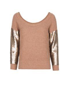 Sequined sleeves sweater- MANGO