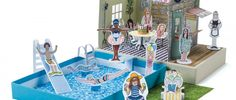 Rosie Flo's paper pool party dollhouse shop.rosieflo.co.uk
