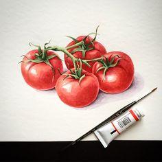 Акварельные помидорки. #акварель #watercolor #red #botanical_watercolors #botanicalillustration #tomatoes