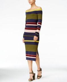 Rachel Rachel Roy Striped Midi Sweater Dress, Only at Macy's - Blue Zephryr Combo XL
