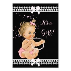 Pink Pearl Cute Baby Shower Girl Black Light Blond