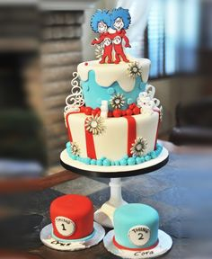 Thing 1 & Thing 2 Colorful Birthday Cake Photo