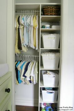 Small space organization: turning a closet-kit organizer into something with a more built-in feel for a tiny closet.