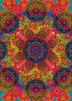 Needlepoint Canvas 14 or 18 count, Floral arrangements, Bright Colors, Abstract needlepoint - Kunstfotografie Mandalas Painting, Mandalas Drawing, Bordados Tambour, Trippy Patterns, Arte Linear, Psy Art, Needlepoint Canvases, Needlepoint Stitches, Psychedelic Art