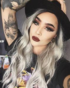 Makeup Gray silver ombre hair