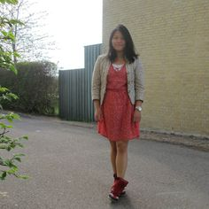 red dress with sneakers