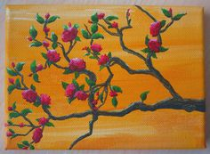 Red Flower Branch Original Painting by JewellsArtUK on Etsy