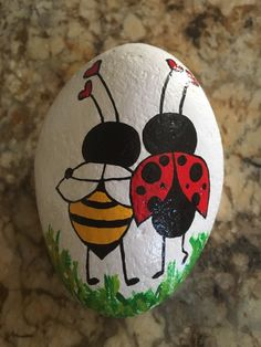 Excited to share this item from my etsy shop Bee my Ladybug valentinesday rockpaperweight paintedgardenrocks paintedrocks Lady Bug Painted Rocks, Painted Garden Rocks, Painted Rocks Craft, Hand Painted Rocks, Rock Painting Patterns, Rock Painting Ideas Easy, Rock Painting Designs, Paint Designs, Pebble Painting