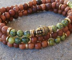 Inner Calm Mens Basic108 Mala, Yellow Turquoise & Natural Rosewood with Buddha guru bead,  Necklace or wrap bracelet, free shipping. $37.00, via Etsy.