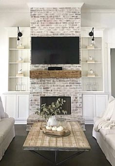 81 Awesome Farmhouse Fireplace Design Ideas To Beautify Your Living Room – Far. - 81 Awesome Farmhouse Fireplace Design Ideas To Beautify Your Living Room – Farmhouse Room - Brick Fireplace Makeover, Home Fireplace, Living Room With Fireplace, Fireplace Design, Farmhouse Fireplace, White Wash Brick Fireplace, Farmhouse Decor, Modern Farmhouse, Fireplace Ideas
