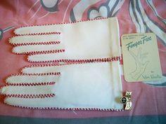 Vintage 1950s Ladies Van Raalte White Gloves Red Trim Size 6.5 Mint in Package by BlackRain4, $29.99