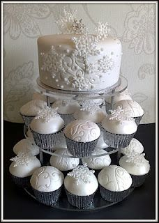 Cupcake tower and pretty silver wraps, and of course the snowflakes
