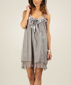 Look what I found on #zulily! Fred Sabatier Gray Embroidered Tiered Silk-Blend Shift Dress by Fred Sabatier #zulilyfinds