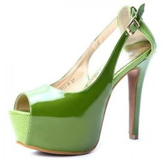 Pearly-luster Patent Leather Splice Snake-print Inner Platform Peep-toe High Heel Sandal Green $39 at shopswagstore.com