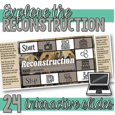 Reconstruction Interactive Google Slides Unit (Distance Learning) Reunification, Secondary Source, Primary Sources, Vocabulary Activities, English Classroom, Comprehension Questions, History Class, Teacher Hacks, Student Learning