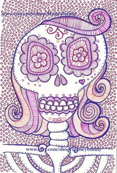 Original DaY Of The Dead Drawing Sugar Skull artwork by Huneybunny, $20.00