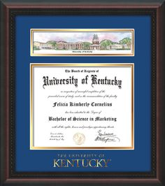 university of kentucky diploma frame rosewood wgold lip wembossed school wordmark only campus collage royal blue on gold mat - Michigan State Diploma Frame