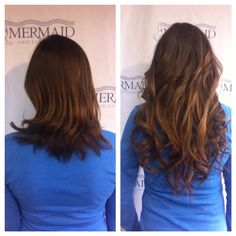 Beautiful brunette Classic Mermaid!#hairextensions #mermaidhair #beforeandafter #kirkland #extensions #dreamcatchers