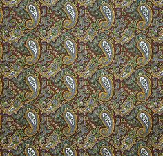 vintage 1960s soft Clydella brushed cotton twill paisley print fabric