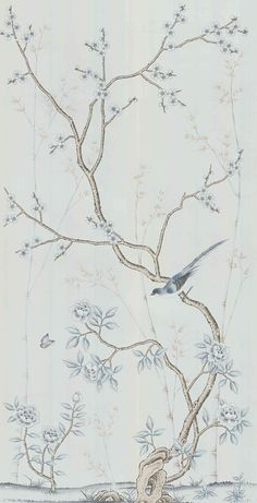 Chinoiserie handpainted wallpaper and artwork in silver gray silk: panel size x custom size Chinese Wallpaper, Silk Wallpaper, Hand Painted Wallpaper, Chinoiserie Wallpaper, Luxury Wallpaper, Pattern Wallpaper, House Painting Cost, House Paint Interior, Interior Design