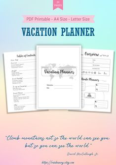Half Letter Vacation Planner Printable, Travel Planner Insert,Travel Itinerary Template, Travel Preparation, Family Holiday Planner - Designed by Rainbowery Packing List Template, Travel Itinerary Template, Packing List For Travel, Travel Checklist, Packing Lists, Europe Packing, Traveling Europe, Backpacking Europe, Travel Deals