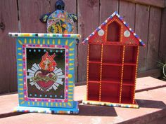 Mexican Shrines upcycled from a spice cabinet & ornament holder... reminds me of my childhood in So. TX <3