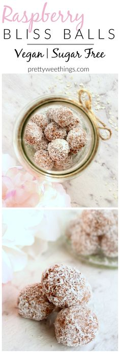 Naturally sweetened and totally nutritious, these raspberry bliss balls make the perfect snack between meals or lunch box addition. Vegan Sweets, Vegan Snacks, Easy Snacks, Healthy Treats, Healthy Foods, Vegan Bar, Healthy Eating, Summer Snacks, Healthy Cooking