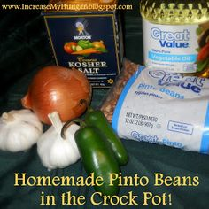Food For Body and Soul: Homemade Pinto Beans in the Crock Pot. I'll do this recipe minus the oil! Crock Pot Slow Cooker, Crock Pot Cooking, Slow Cooker Recipes, Crockpot Recipes, Cooking Recipes, Cooking Tips, Side Dish For Enchiladas, How To Cook Beans, Homemade Salsa