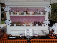 My cupcake stand at the farmers market all dressed up for Halloween!