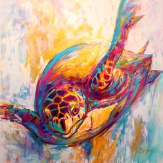 paintings of turtles | ... Art Painting - Theres More Than Just Fish In The Sea - Sea Turtle Art