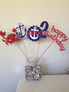 Crab Nautical Under the Seal Centerpiece or Cake Toppers Red, White and Blue by AngiesDesignz on Etsy https://www.etsy.com/listing/99537288/crab-nautical-under-the-seal-centerpiece