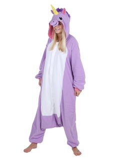 Lilla Enhjørning kostume. Vælg mellem lyserød, lyseblå eller lilla.