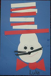 Cute Dr. Seuss Craft! For a math class you could have students measure the stripes then cut with scissors!