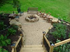 Gravel patio with fire pit