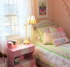 Corner Flowers Wallpaper Murals and Green Bedding Sets with Pink Table in Girls Bedroom Furniture Designs Ideas