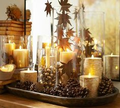 pretty pinecone and candle arrangement