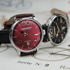 Novelty from Baselworld 2017 - model 63 Bordeaux and 63 Black. This elegant timepieces are equipped with convex dials and cylindrical sapphire glass. The design adapts to the slim example of the 60's. #alexandershorokhoff #avantgarde #artonthewrist #madeingermany #sixties #vintage