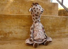 13 inch Lilac Giraffe in a Pale Pink Polka Dots by SashaPokrass