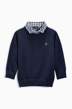 Buy Navy Mock Crew With Check Shirt (3mths-6yrs) from the Next UK online shop