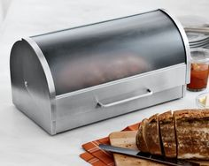 I love the Glass & Stainless-Steel Bread Box on Williams-Sonoma.com