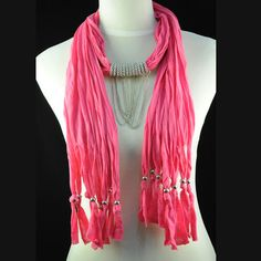 Nice magenta pendant scarf chain links threaded through rings jewelry NL-1462F