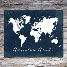 Navy world map wall art canvas world map print in navy blue mikie world map on wood planks gumiabroncs Image collections